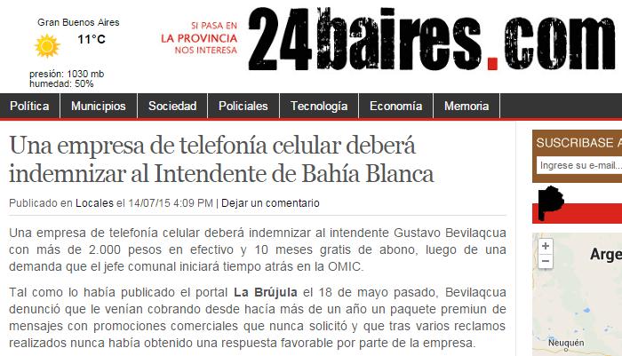 Una empresa de telefonía celular deberá indemnizar al Intendente de Bahía Blanca