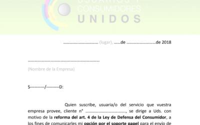 Modelo de nota para solicitar facturas o resumenes en papel
