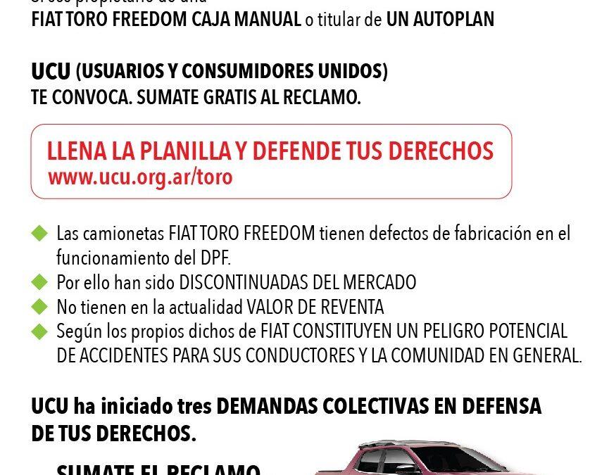 Acción Colectiva UCU c/ FIAT por camioneta TORO manual