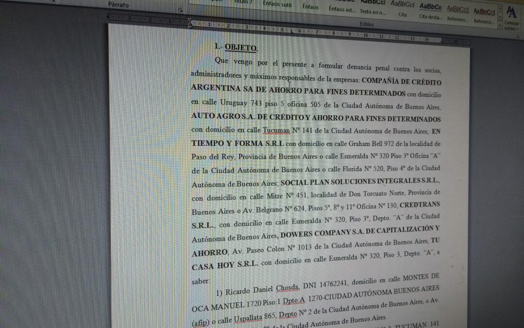 Modelo denuncia penal para presentar contra Compañía de Crédito Argentina y empresas del grupo